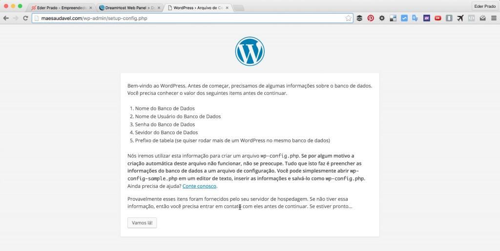 Tela Inicial: Como Instalar WordPress