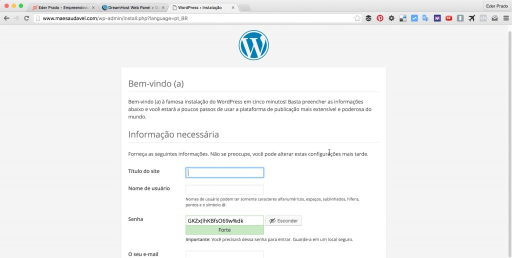 Parte 2: Como Instalar WordPress